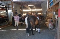 Riders lining up just outside the arena in preparation for their show class