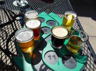 I tried six of Hop Valley's finest brews including: The Heff Wheat Ale, Alphadelic IPA, Natty Red Amber Ale, Vanilla Porter, The Hombre Lager, and Pollination Honey Ale.