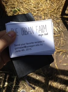 Out at the Urban Farm trying to get recipes