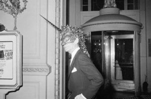 Costume Party Goer in Unusual Mask